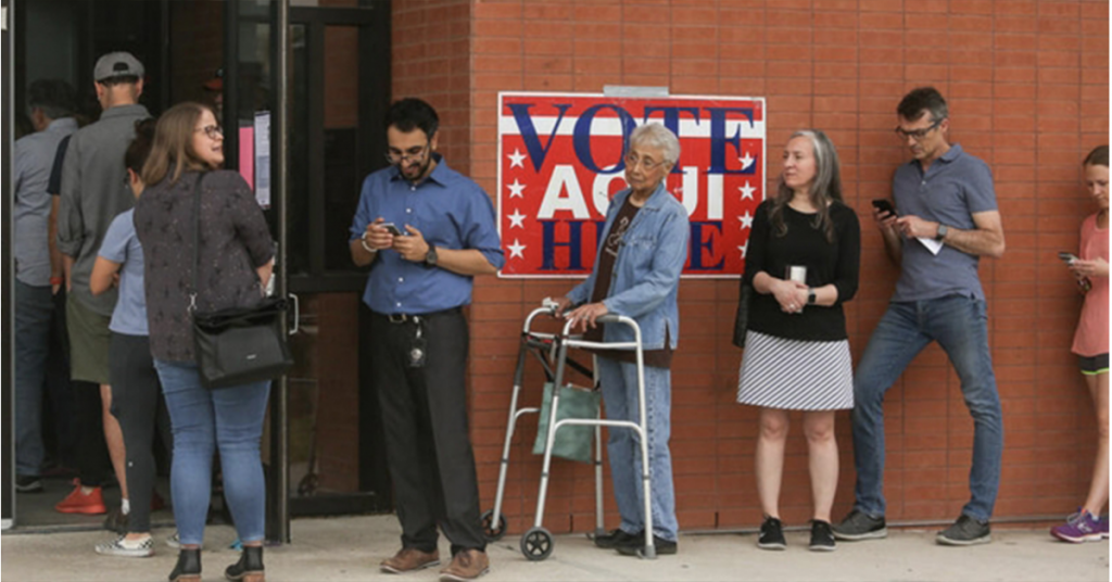 People standing in a voting line