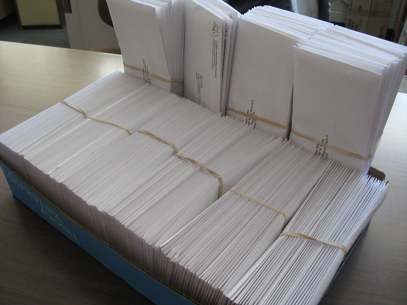 Letters bound and ready to be sent out